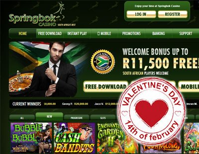 R1,400 Bonus for Valentine's Day at Springbok Casino